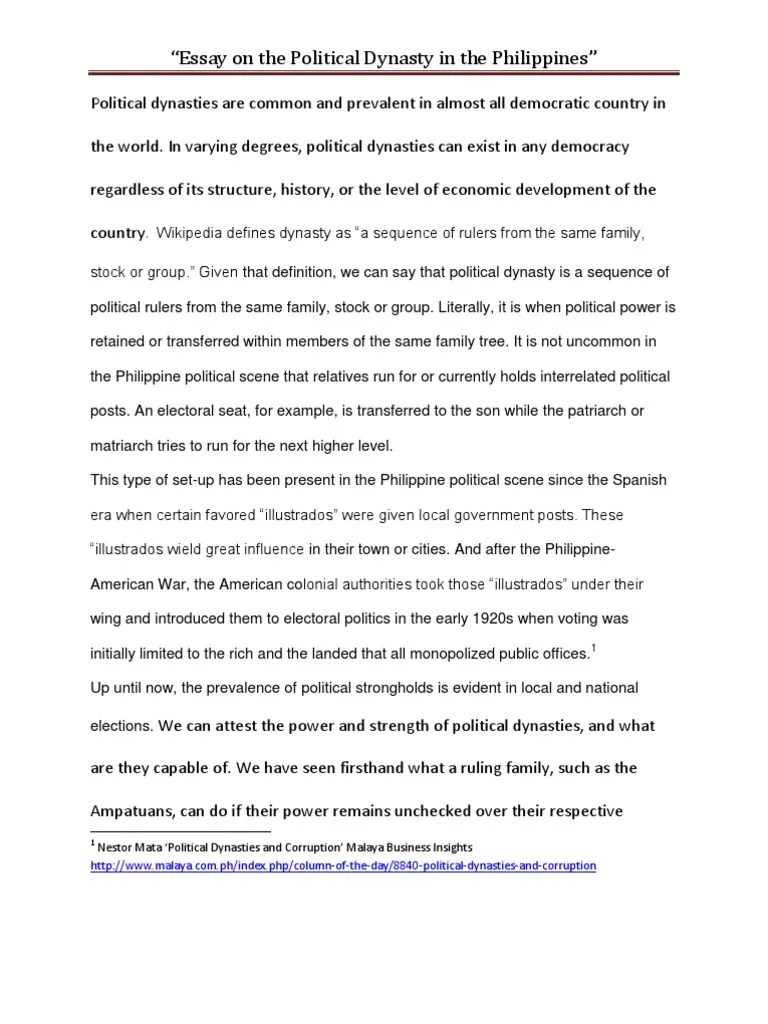 Essay On Political Dynasties In The Philippines Democracy