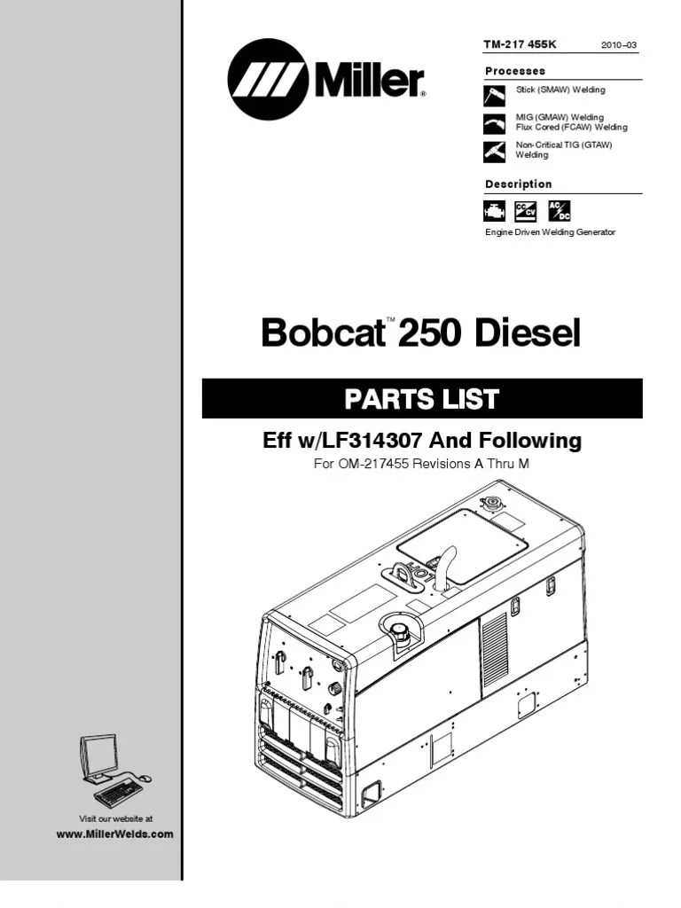 miller bob cat 250 diesel electrical connector mechanical engineering [ 768 x 1024 Pixel ]
