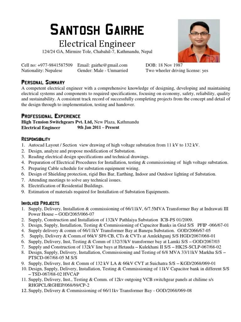 sample resume electrical design engineer