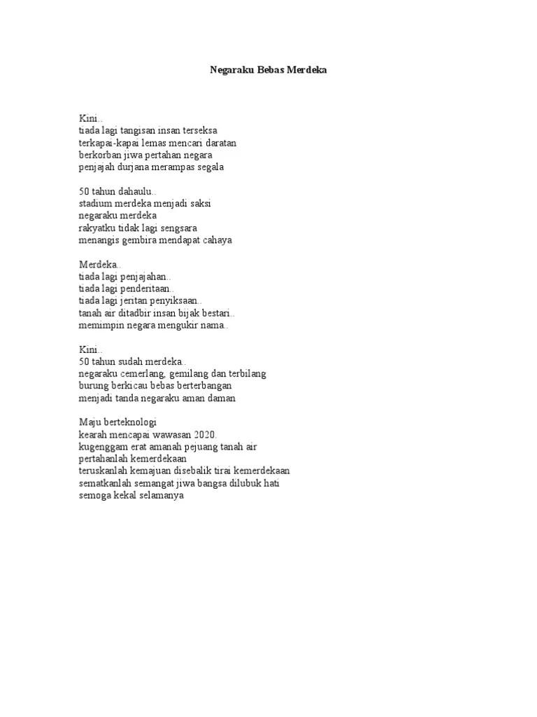 Terzina adalah jenis jenis puisi yang pada tiap baitnya terdiri dari 3 baris. Sajak Sajak Kemerdekaan