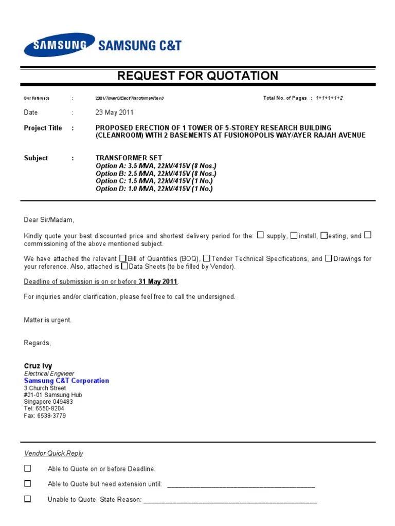 technical quotation format