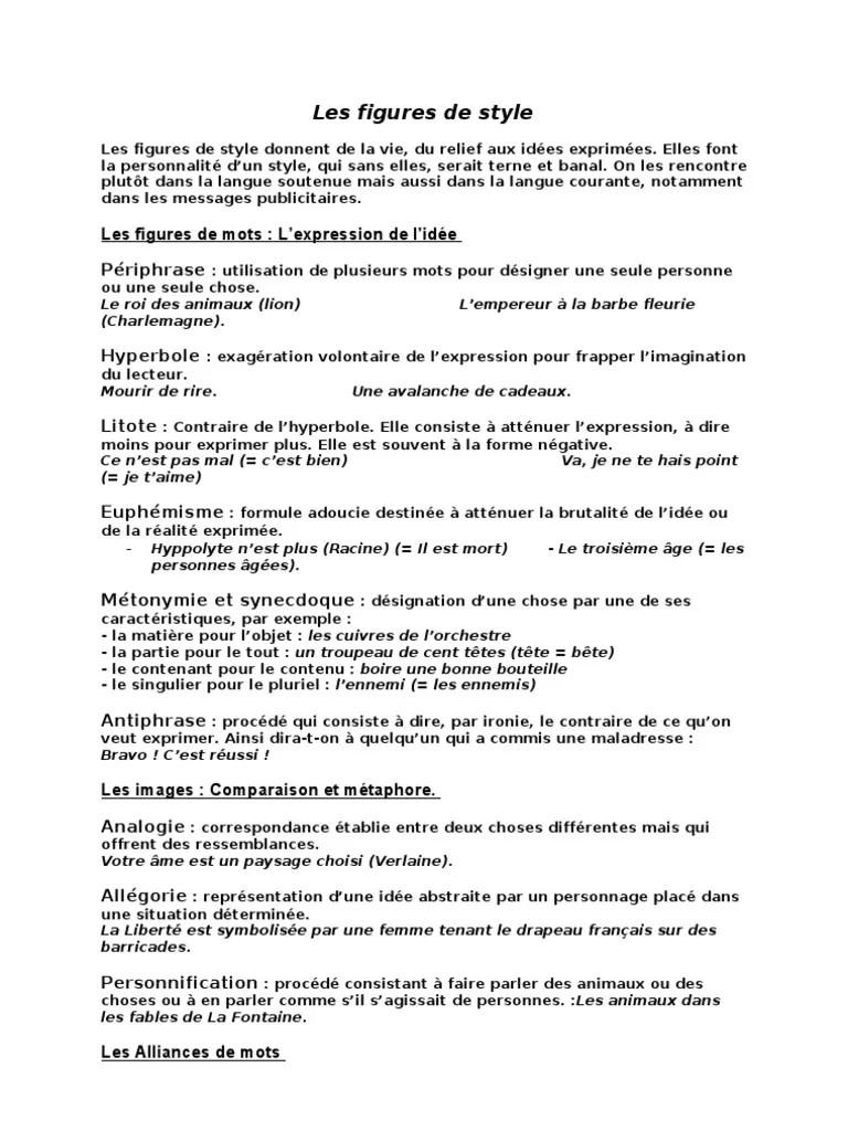 Je Ne Te Hais Point Figure De Style : point, figure, style, Figures, Style.doc, Techniques, Rhétorique, Style