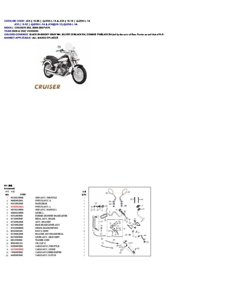 Keeway Cruiser 250 Catalogo de Despiece