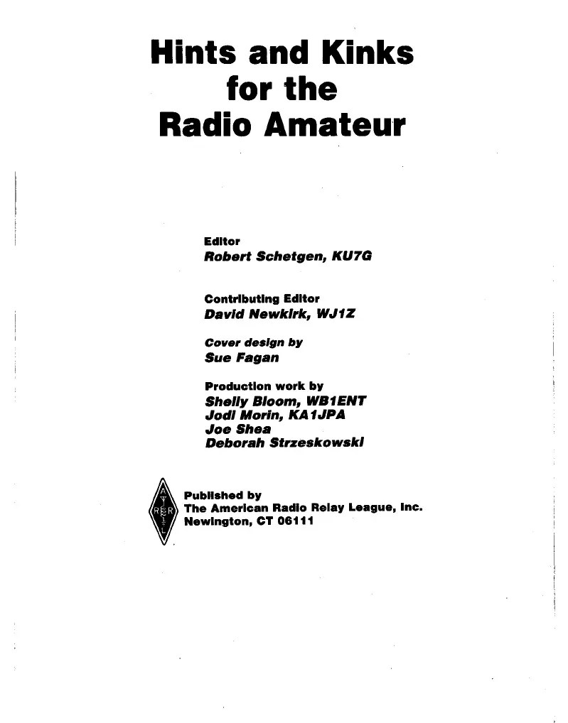 Hints and Kinks for the Radio Amateur