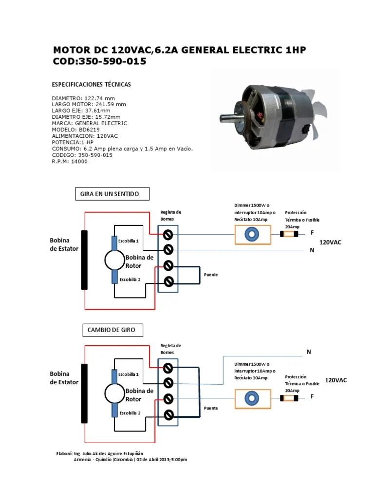 Diagrama Conexión Motor General Electric BD6219