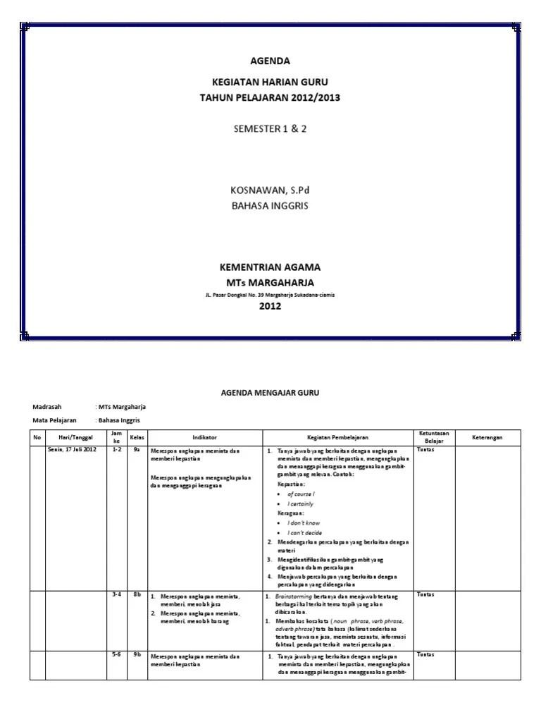 Jurnal Agenda Guru K13 : jurnal, agenda, AGENDA, MENGAJAR, GURU.docx