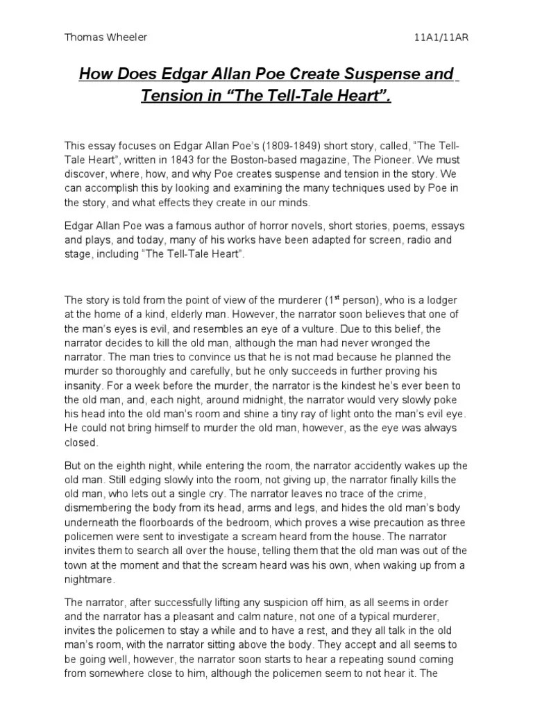 Tell Tale Heart Essay The Tell Tale Heart A Poem Alliterations