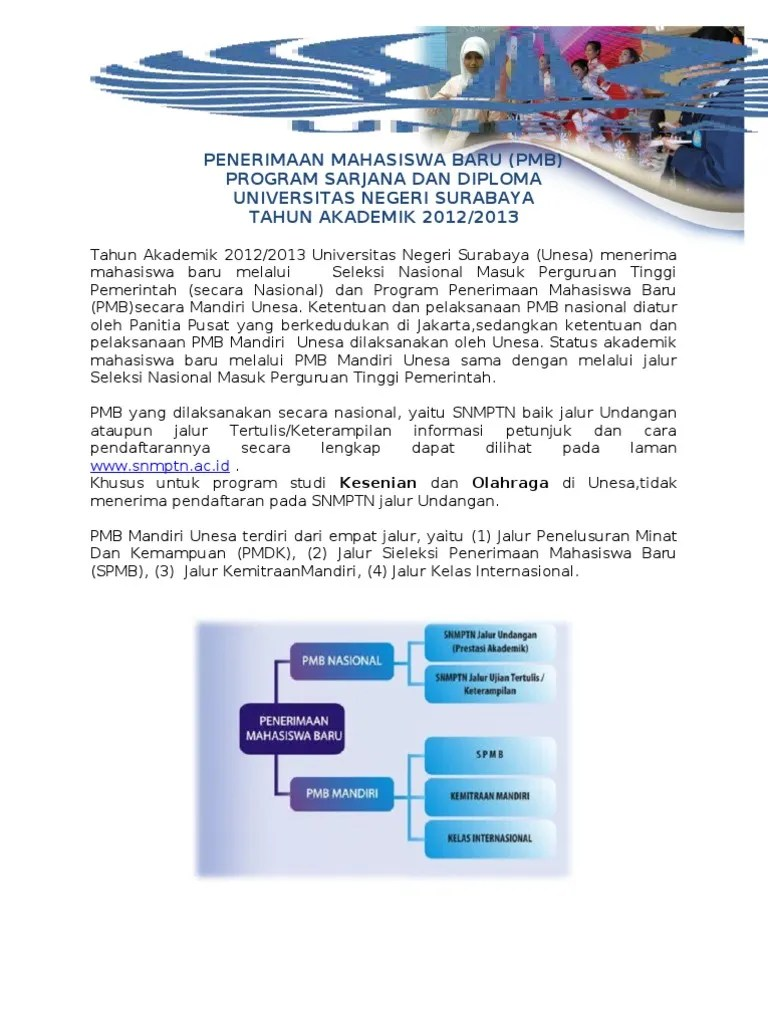 Pendaftaran Mandiri Unesa : pendaftaran, mandiri, unesa, Penerimaan, Mahasiswa, (Pmb), Program, Sarjana, Diploma, Universitas, Negeri, Surabaya, TAHUN, AKADEMIK, 2012/2013