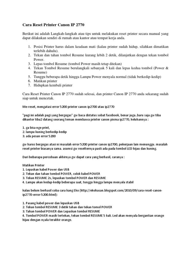 Printer Canon Ip2770 Error 5b00 Tidak Bisa Direset : printer, canon, ip2770, error, tidak, direset, Reset, Printer, Canon