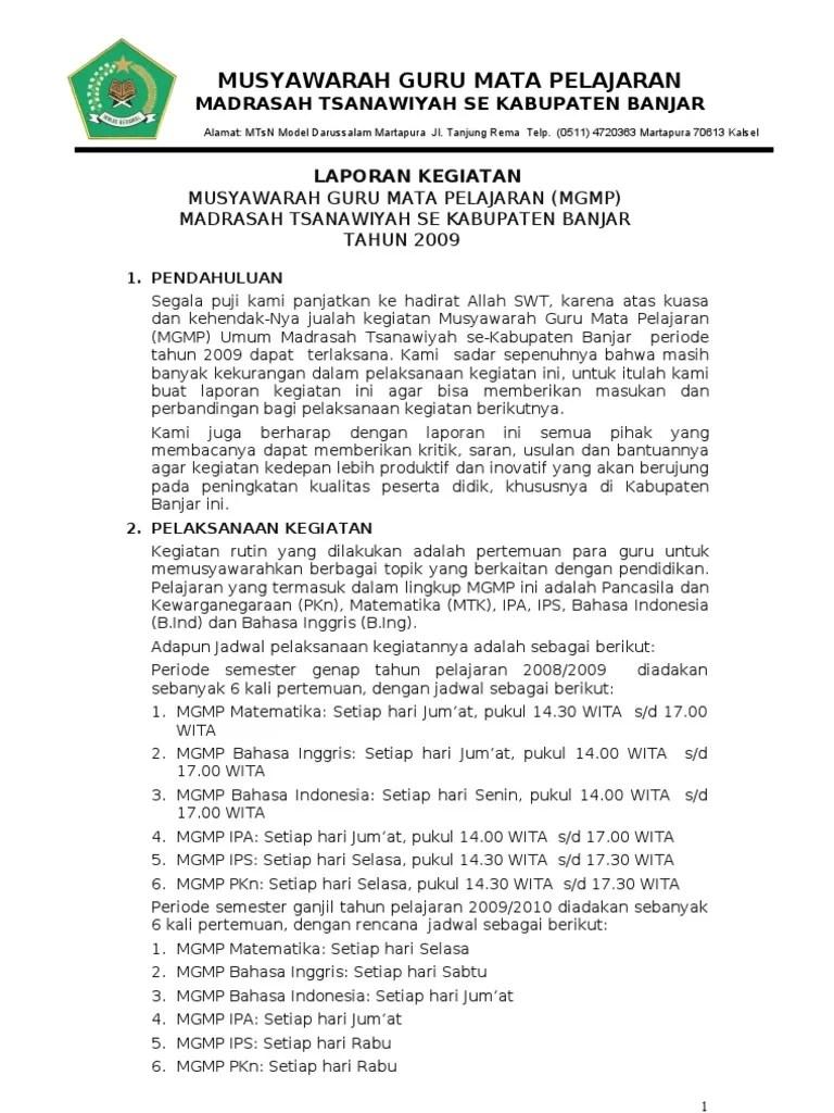 Contoh Laporan Kegiatan Mgmp Bahasa Inggris Kumpulan Cute766