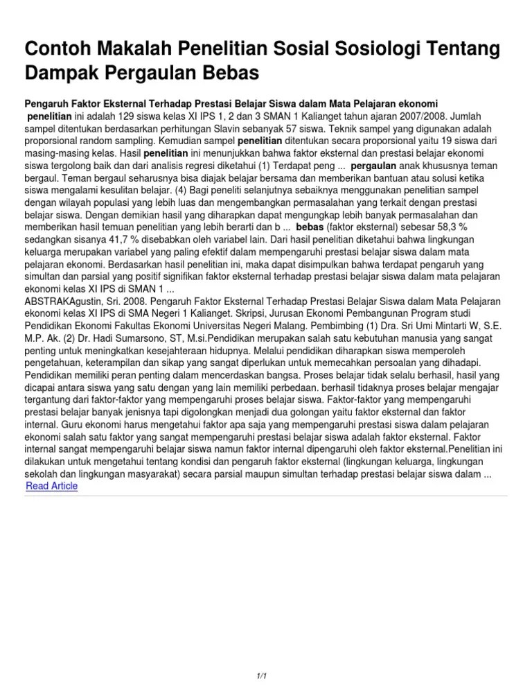 Penelitian Sosial Sosiologi : penelitian, sosial, sosiologi, Contoh, Makalah, Penelitian, Sosial, Sosiologi, Tentang, Dampak, Pergaulan, Bebas