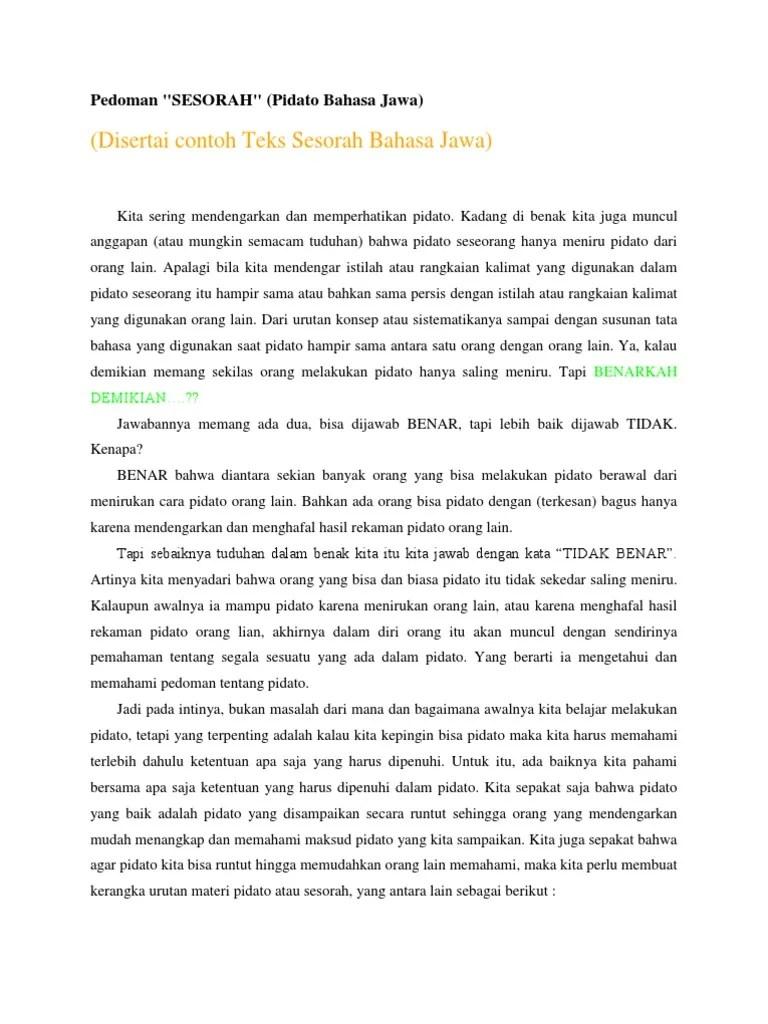 Sesorah Bahasa Jawa : sesorah, bahasa, Pidato, Jawa.docx