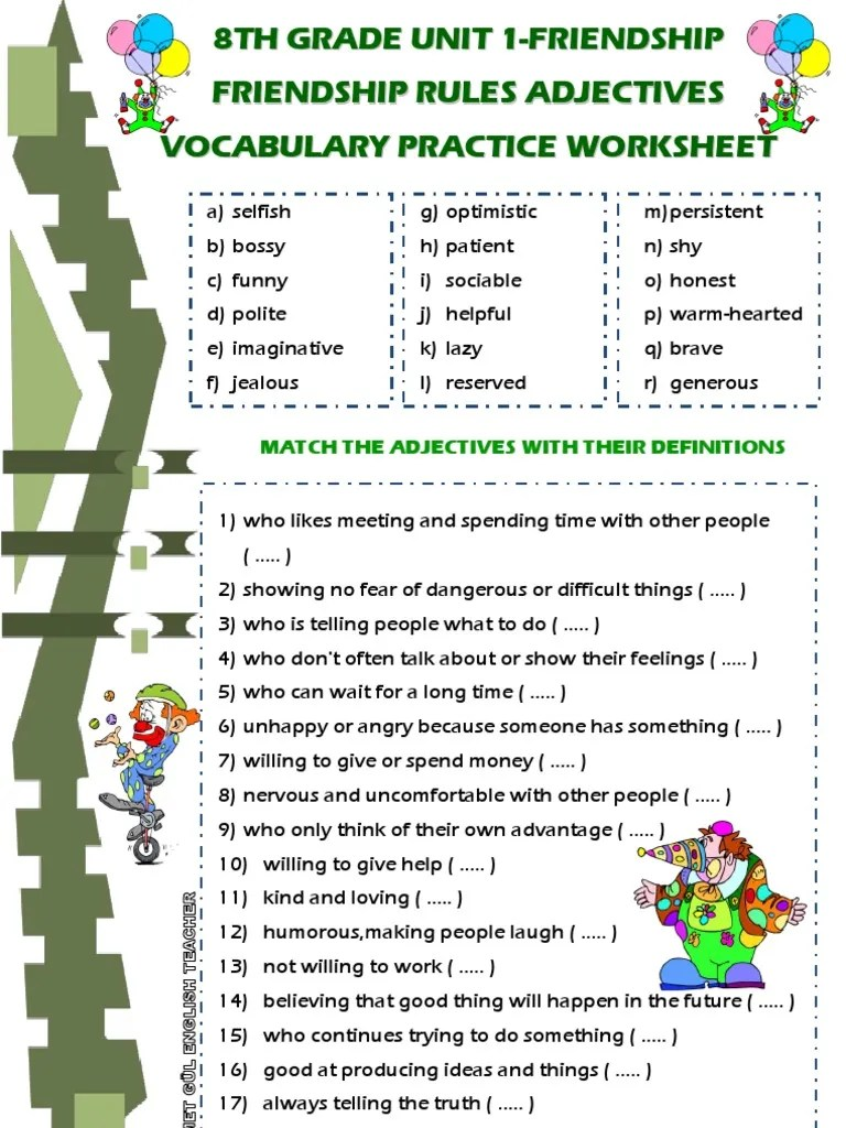8th Grade Unit 1 Friendship Rules Vocabulary Adjectives Meanings Matching  Worksheet [ 1024 x 768 Pixel ]