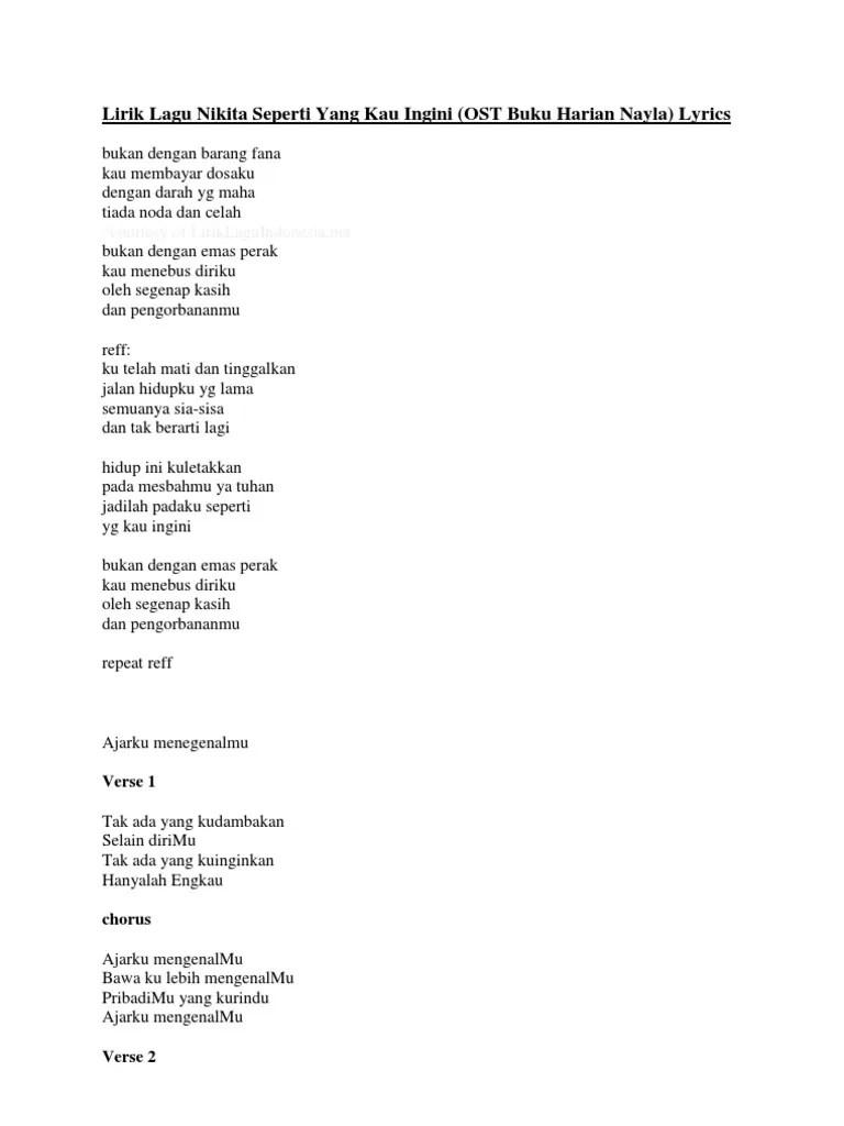 Lirik Bukan Dengan Barang Fana : lirik, bukan, dengan, barang, Lirik, Nikita, Seperti, Ingini