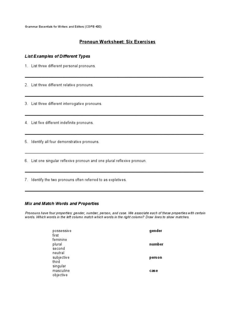 medium resolution of Pronoun Worksheet (Fall 2011)   Pronoun   Grammatical Gender