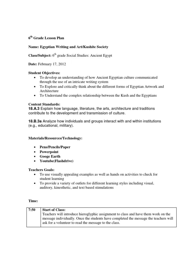 small resolution of lesson plan ancient egypt and kush 6th grade   Ancient Egypt   Egyptian  Hieroglyphs