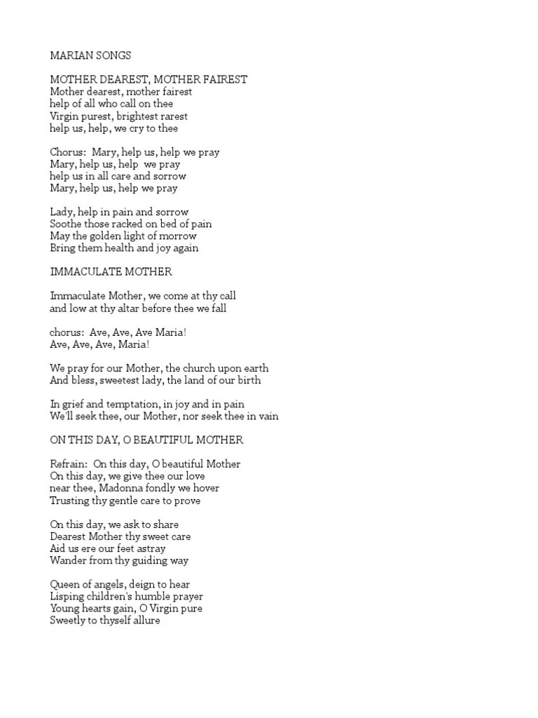 Immaculate Mother Song Lyrics : immaculate, mother, lyrics, Marian, Songs, Mary,, Mother, Jesus, Metaphysics, Religion