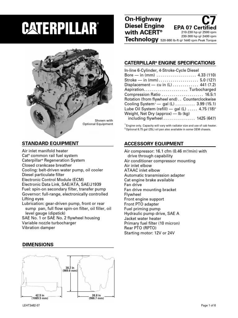Caterpillar C7 Engine Specs