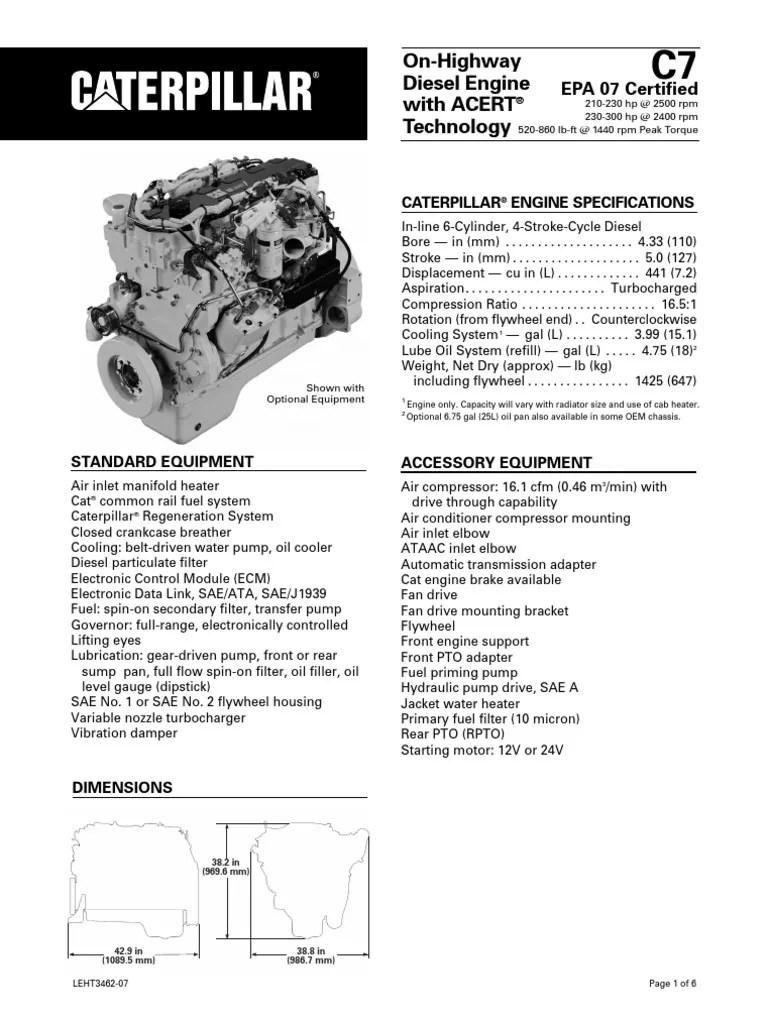 medium resolution of caterpillar c7 engine specs diesel engine horsepower mix cat c7 engine oil diagram 6