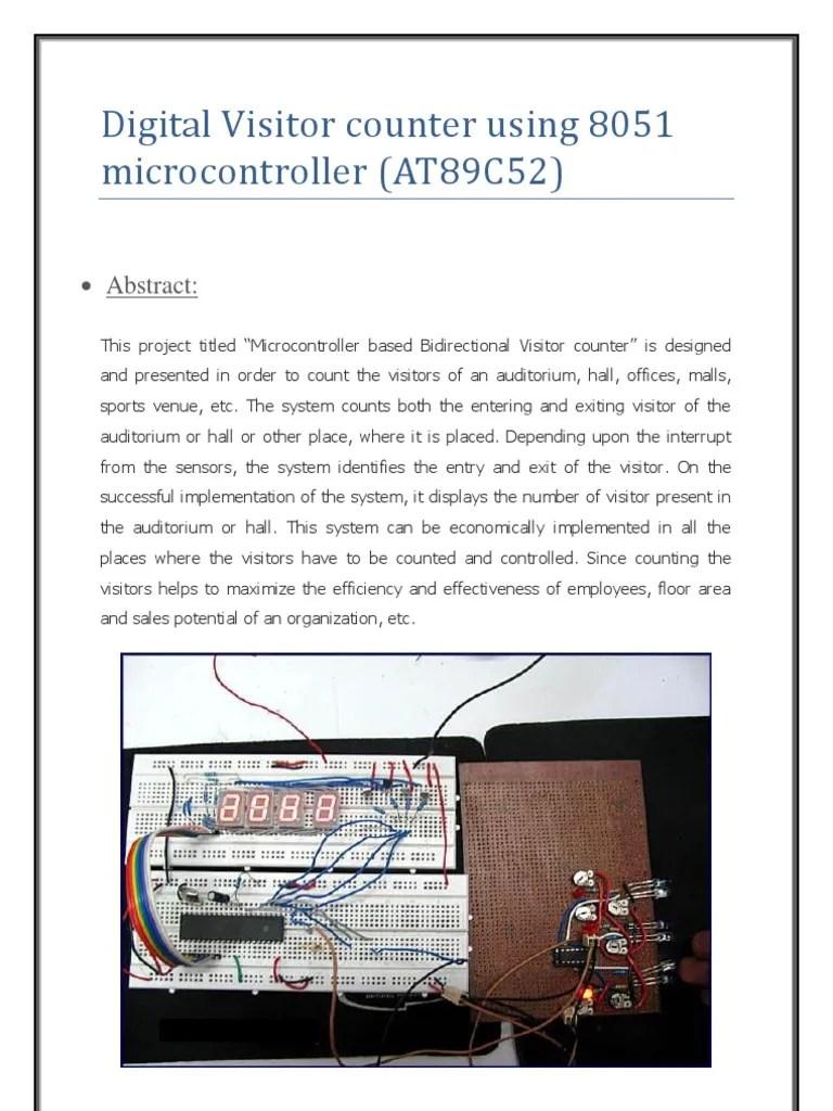 digital visitor counter using 8051 microcontroller light emitting diode transistor [ 768 x 1024 Pixel ]