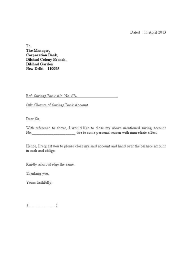 103428967 Closing Bank Account Letter
