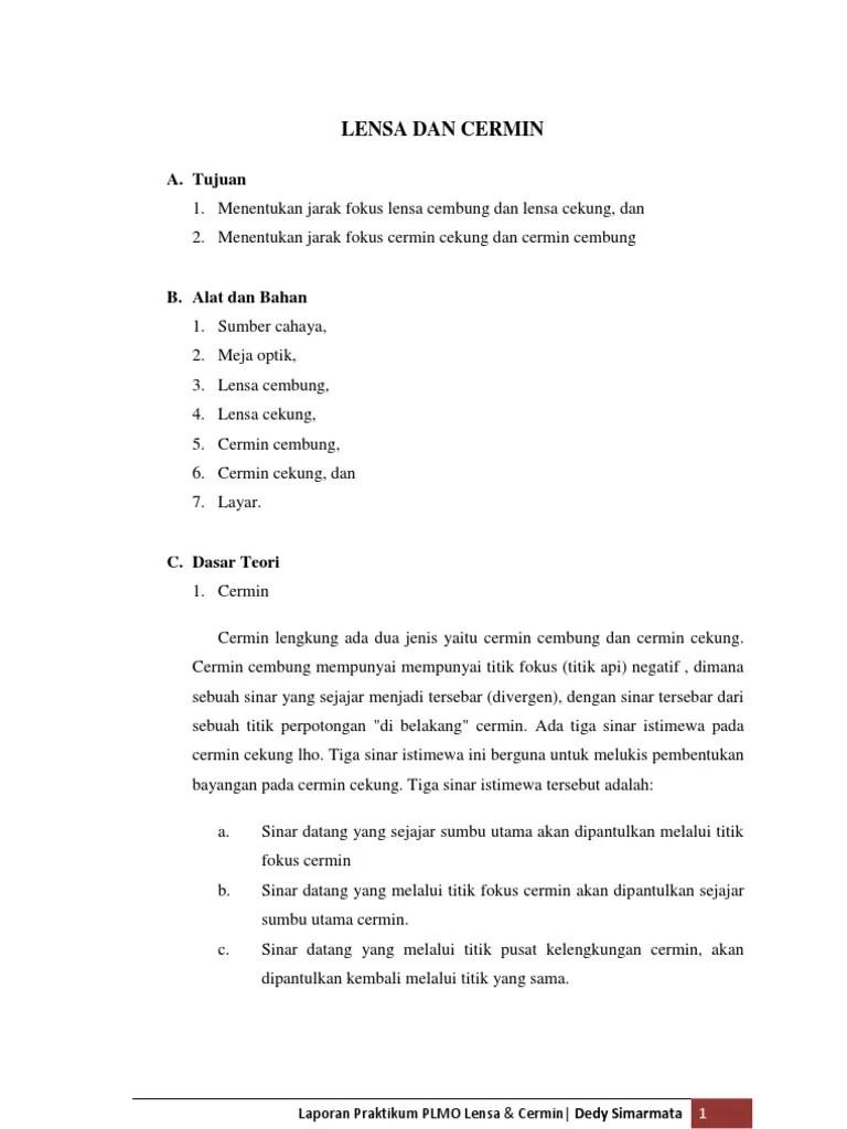 Laporan Praktikum Lensa Cembung : laporan, praktikum, lensa, cembung, Laporan, Cermin, Lensa