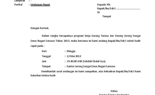 Contoh Surat Undangan Rapat 17 Agustus Karang Taruna Berbagi Contoh Surat Cute766