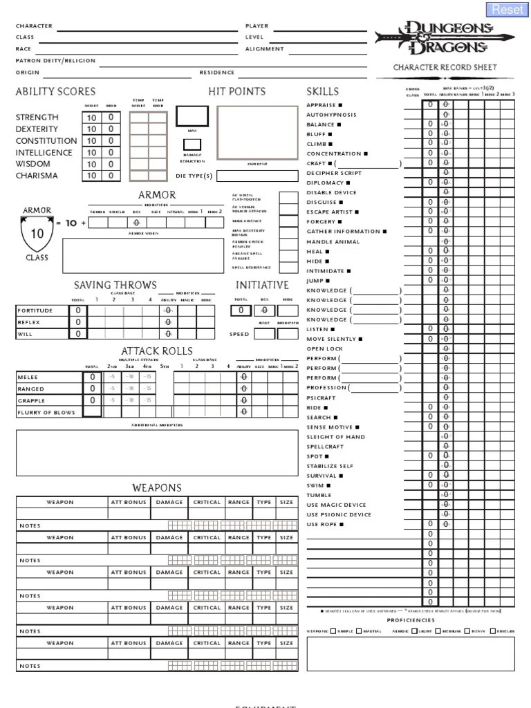 D&D 3.5 Edition Interactive Character Sheet