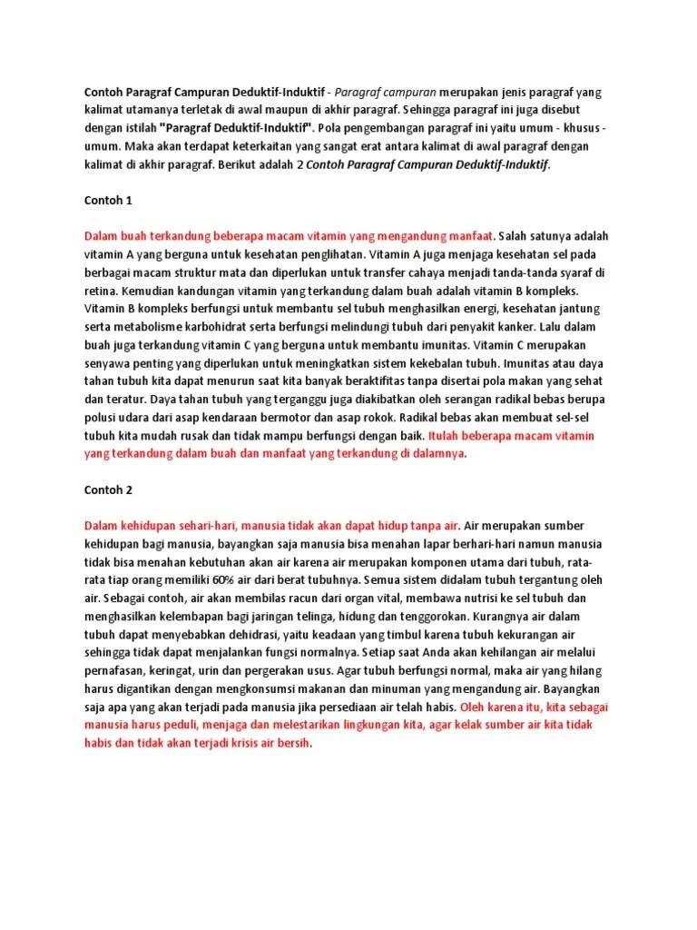Contoh Kalimat Induktif Deduktif Dan Campuran : contoh, kalimat, induktif, deduktif, campuran, Contoh, Paragraf, Campuran, Deduktif