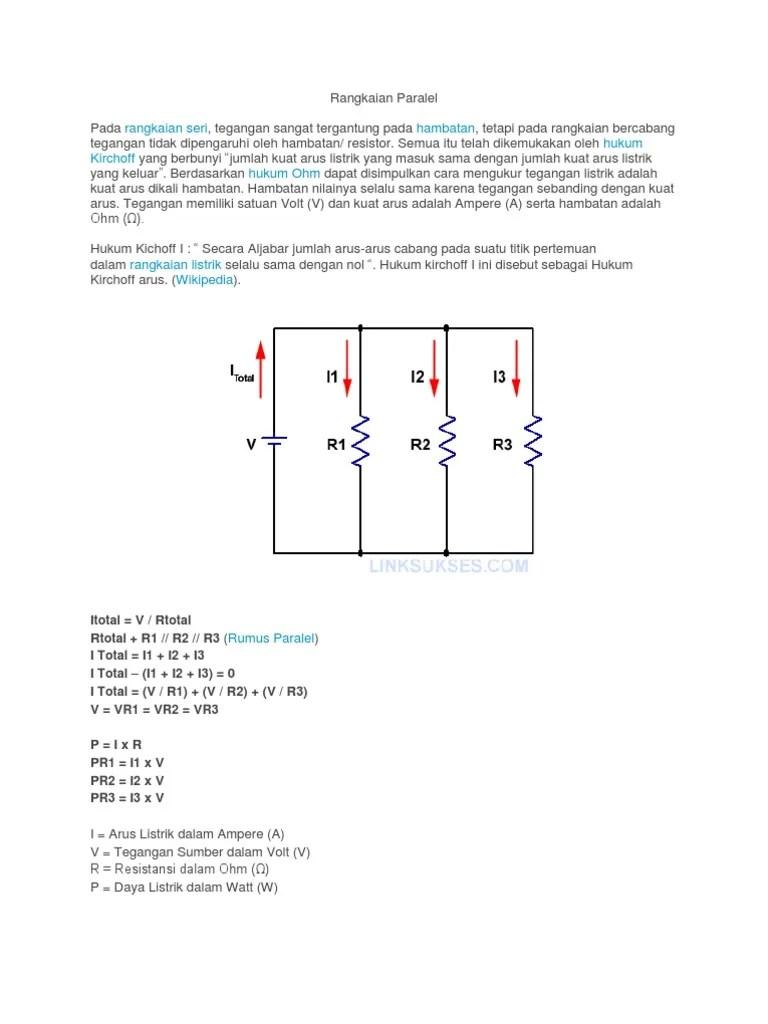 Menghitung Kuat Arus Pada Rangkaian Paralel : menghitung, rangkaian, paralel, Rangkaian, Paralel