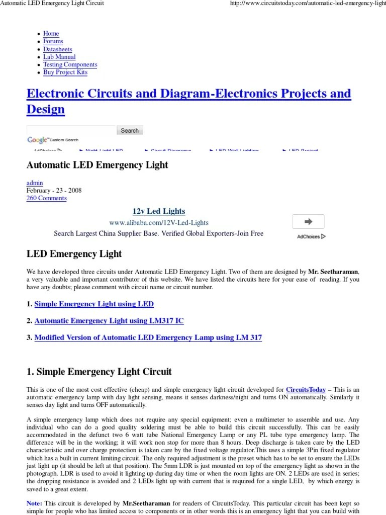 automatic led emergency light circuit 1 light emitting diode battery electricity  [ 768 x 1024 Pixel ]