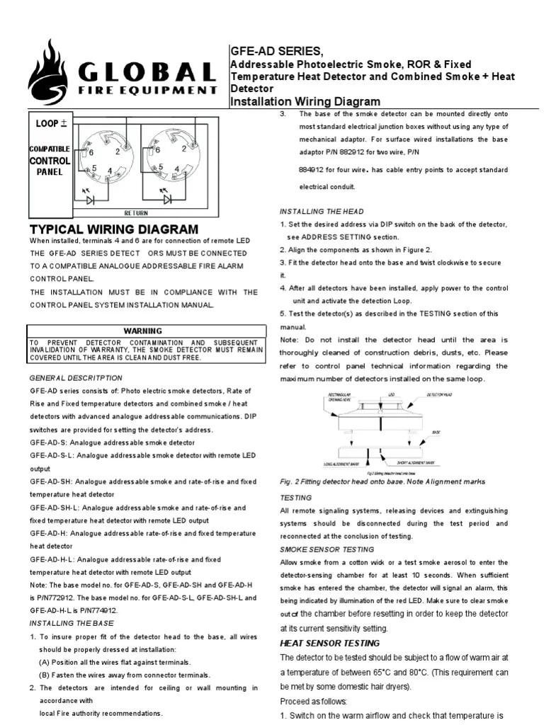 hight resolution of manual do sensor de incendio globalfire ad series manual sensor electrical wiring