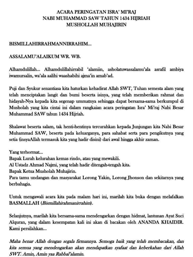 Teks Pembawa Acara Isra Mi Raj : pembawa, acara, Pembawa, Acara, Miraj, Bahasa, Indonesia, Kumpulan, Referensi, Pidato, Cute766