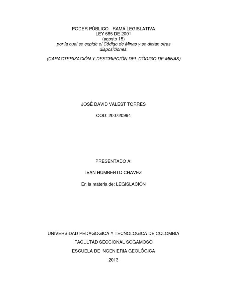 Caracterizacion Y Descripcion Del Codigo De Minas 1