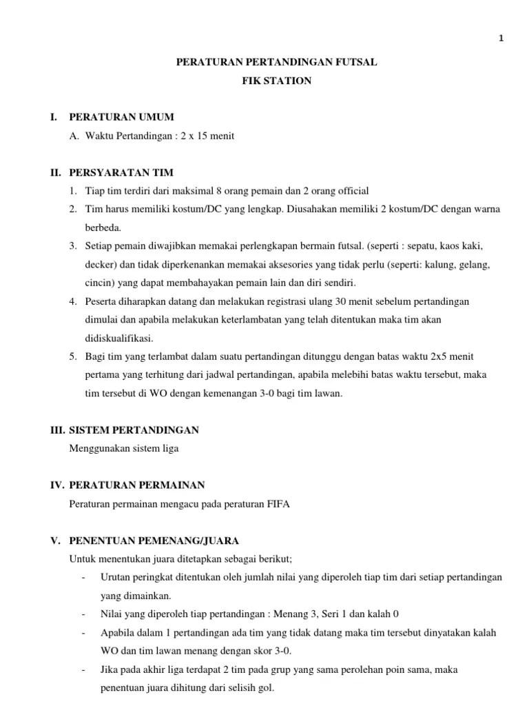 Peraturan Futsal Terbaru, Singkat Dan Terlengkap