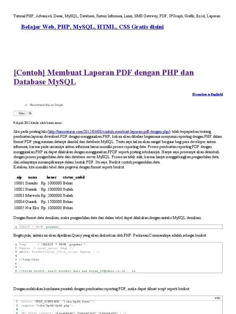 Membuat Laporan Php Dengan Fpdf : membuat, laporan, dengan, Membuat, Laporan, Dengan, Database, MySQL