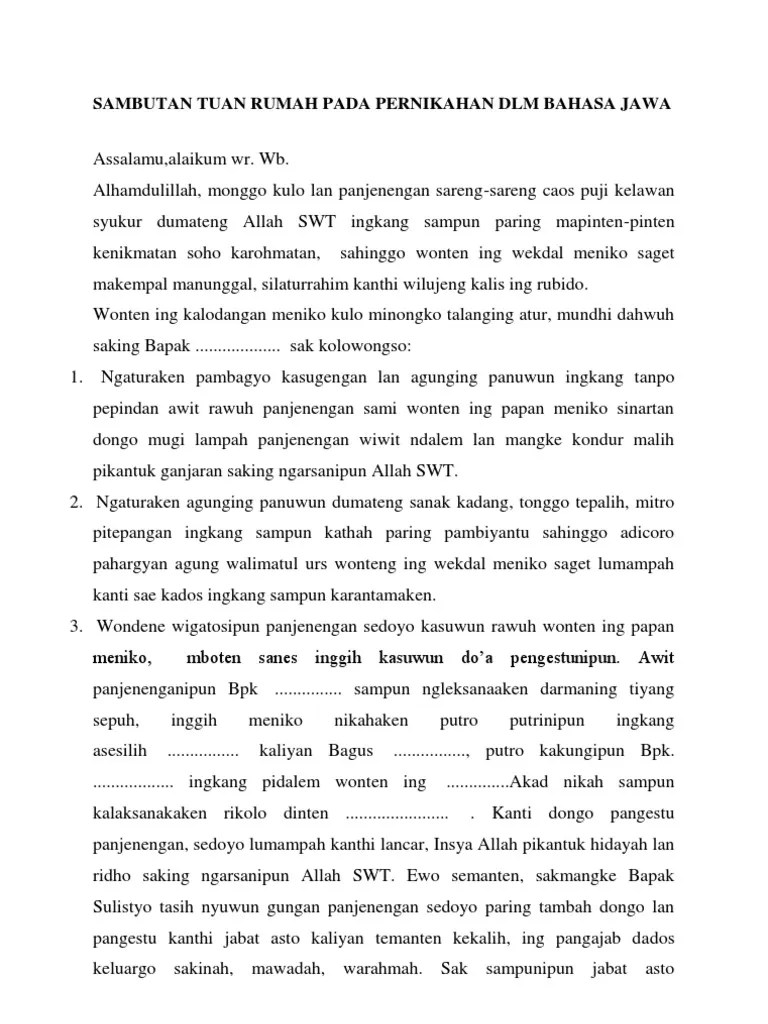Sambutan Tuan Rumah Bahasa Jawa : sambutan, rumah, bahasa, Sambutan, Rumah, Pernikahan, Bahasa