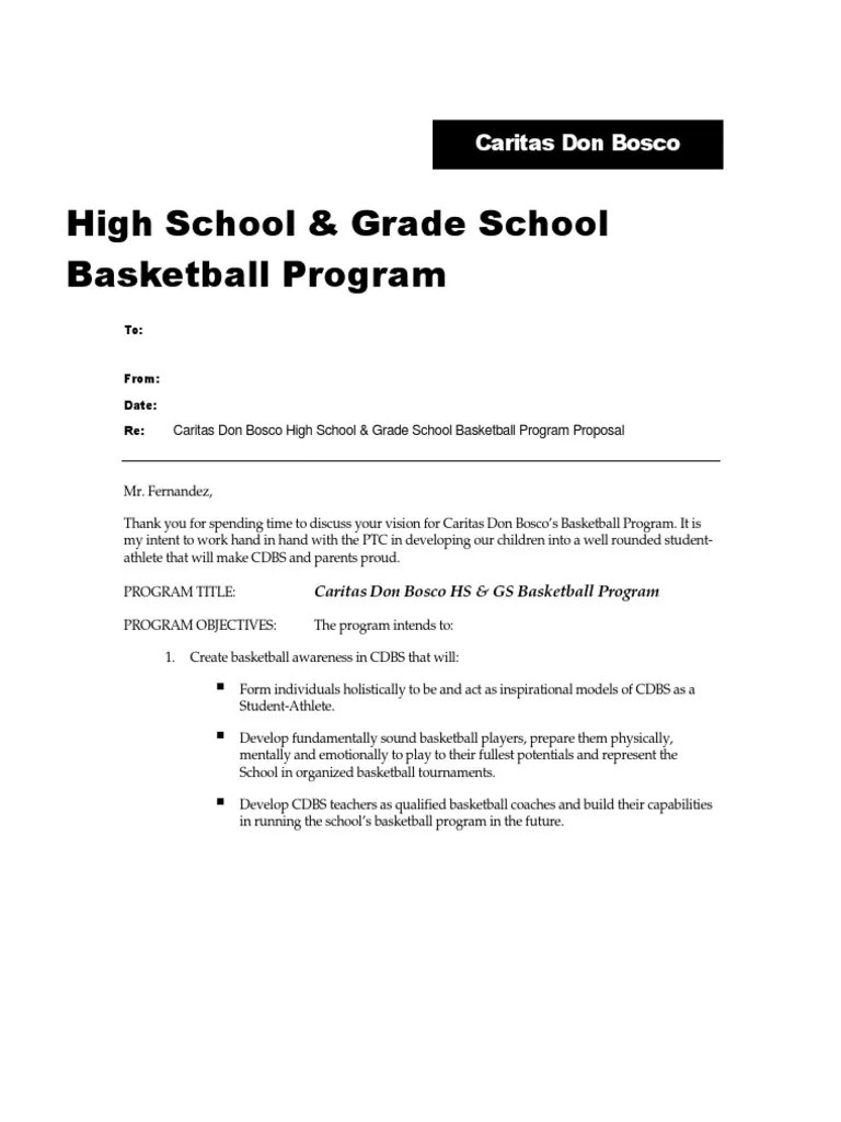 Sample Basketball Program Proposal Teaching And Learning