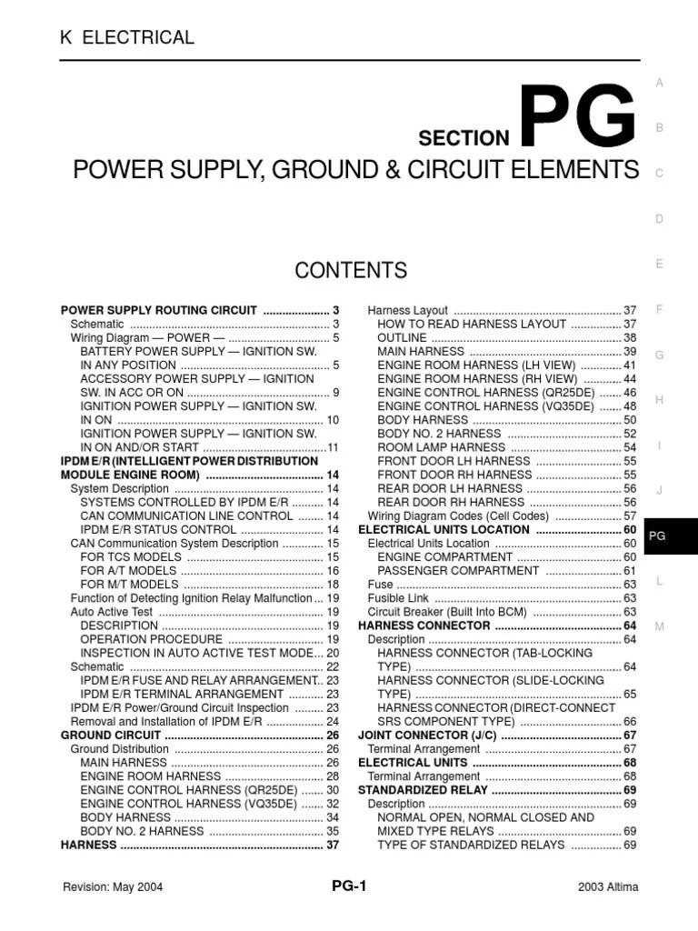 medium resolution of 2003 nissan altima 2 5 serivce manual pg fuse electrical 2003 nissan altima ac fuse