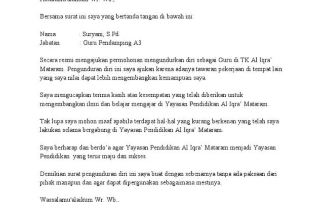 Contoh Surat Pengunduran Diri Security Surat 0 Cute766