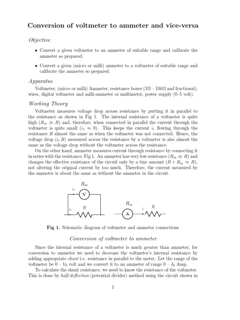 small resolution of conversion of voltmeter to ammeter and vice versa electromagnetic compatibility electromagnetism