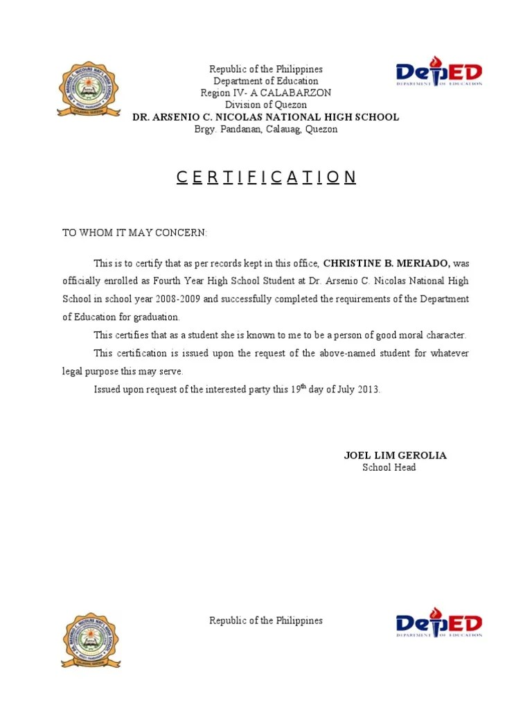 Moral Conduct Letter Sample
