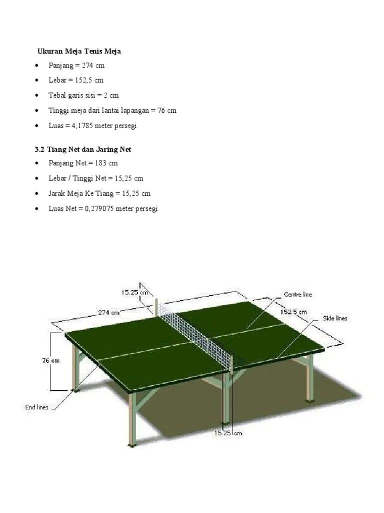 Lapang Tenis Meja : lapang, tenis, Ukuran, Tenis