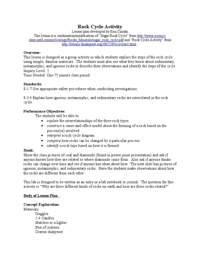 hight resolution of Rock Cycle Lesson Plan   Rock (Geology)   Lesson Plan