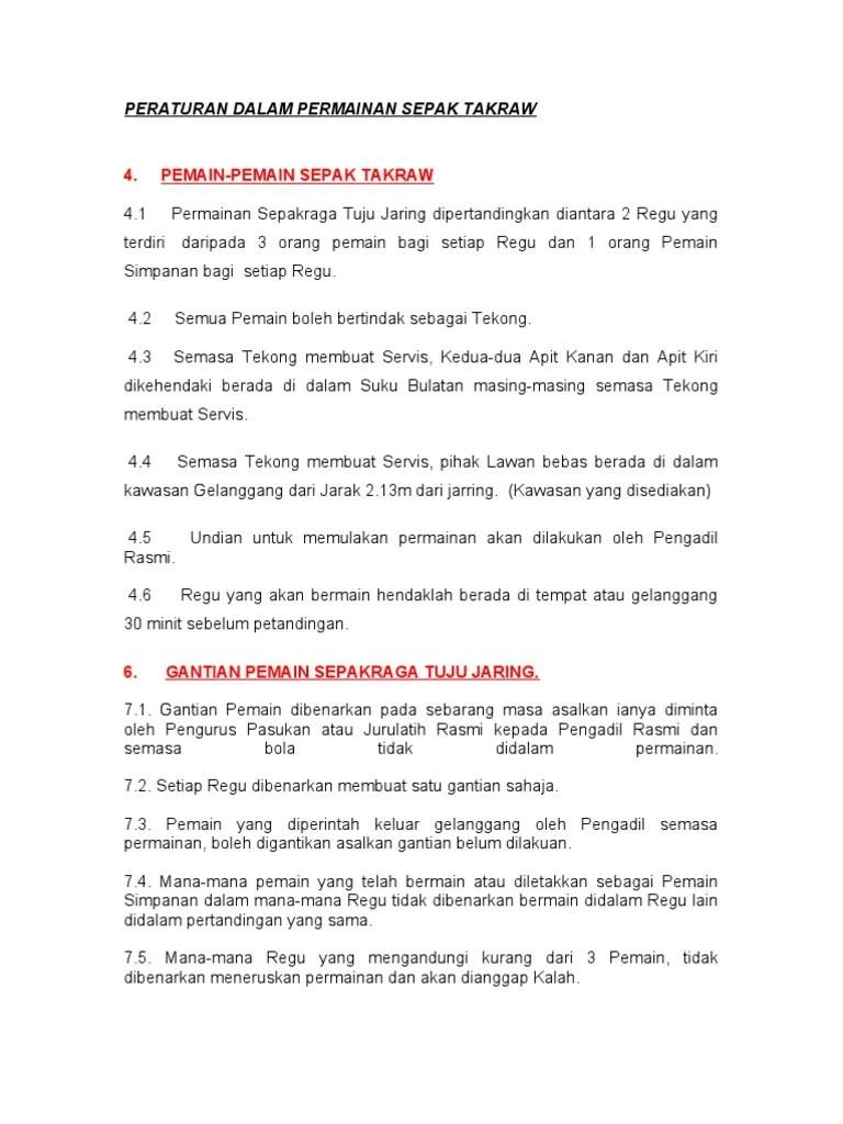 Peraturan Takraw : peraturan, takraw, Peraturan, Dalam, Permainan, Sepak, Takraw