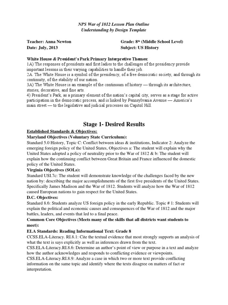 hight resolution of War of 1812 Middle School Lesson Plan   War Of 1812   Argument