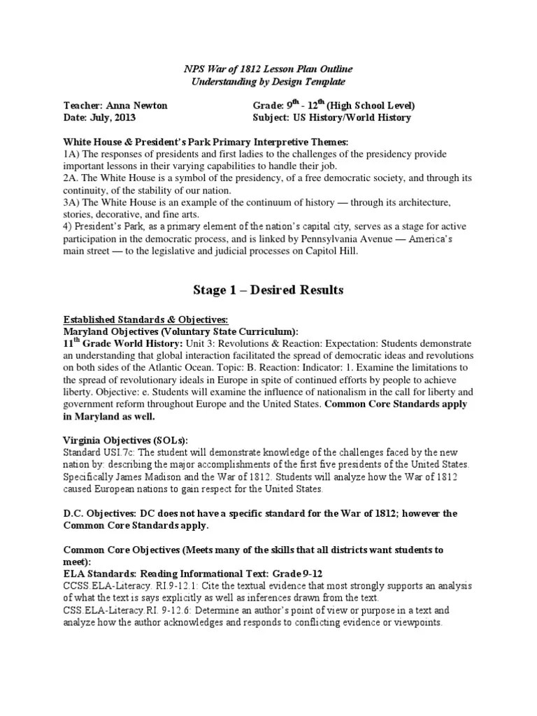 small resolution of War of 1812 High School Lesson Plan   Educational Assessment   Argument