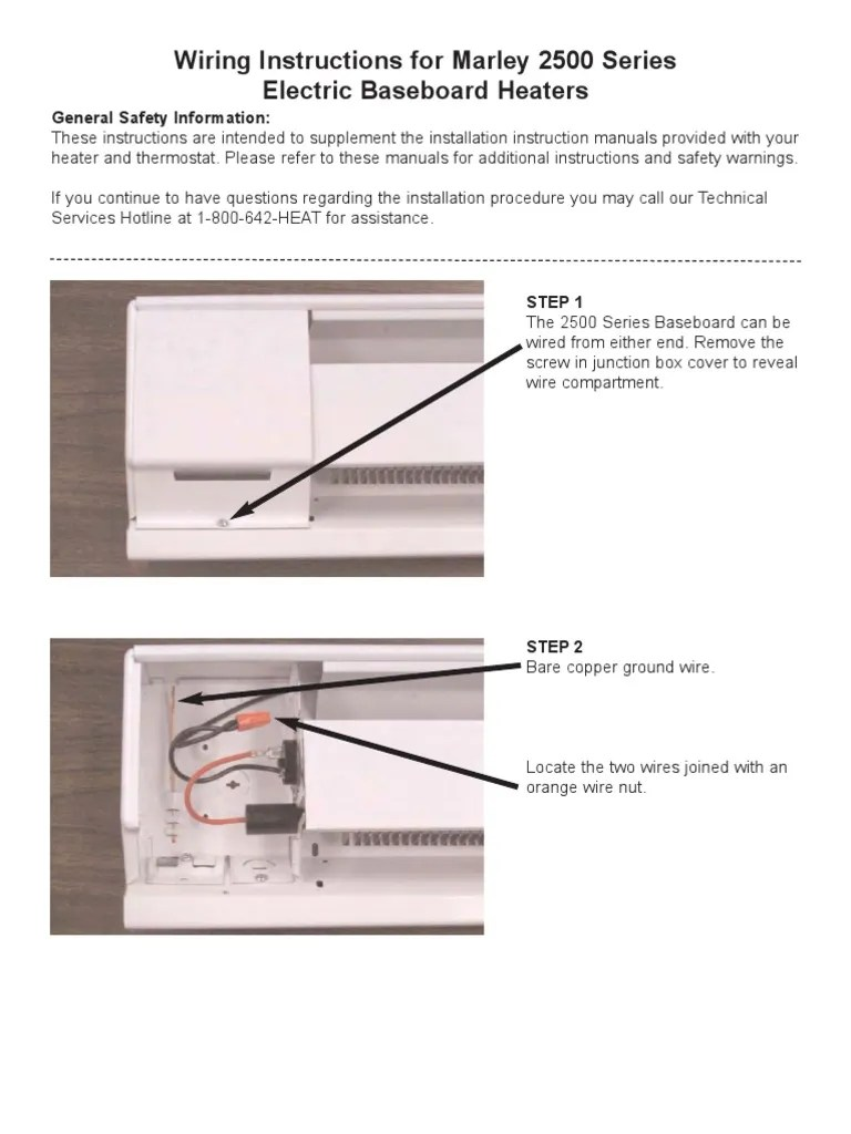Wiring Instructions for Marley 2500 Series Electric