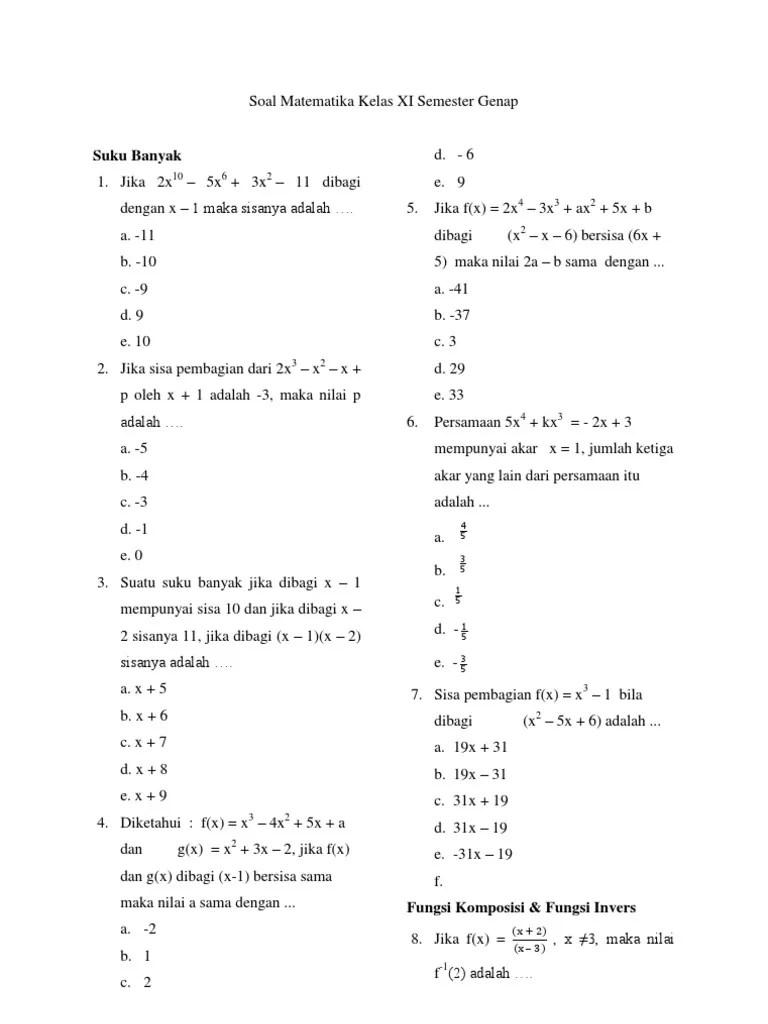 Soal Matematika Kelas 11 Semester 1 Dan Jawabannya : matematika, kelas, semester, jawabannya, Matematika, Kelas, Semester, Genap