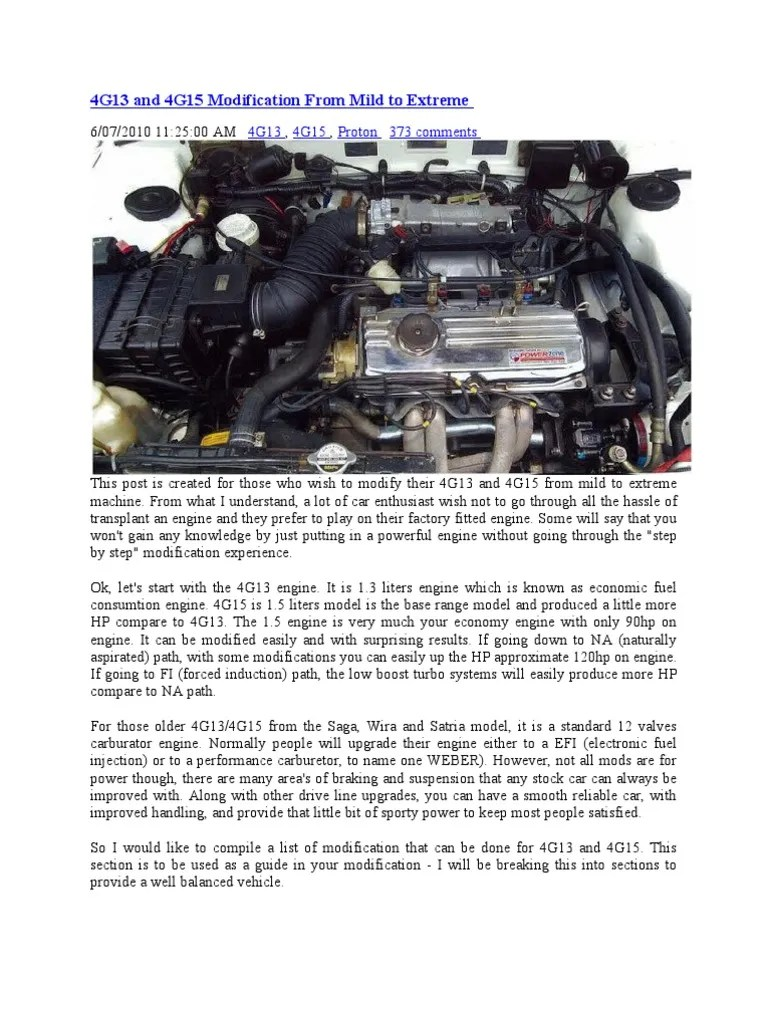hight resolution of 4g13 and 4g15 modification from mild to extreme turbocharger throttle
